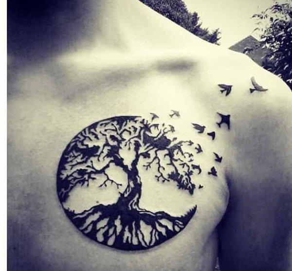 Tattoo ideeen borst boom