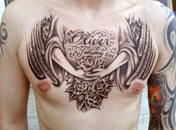 tattoo belangrijke datum op borst