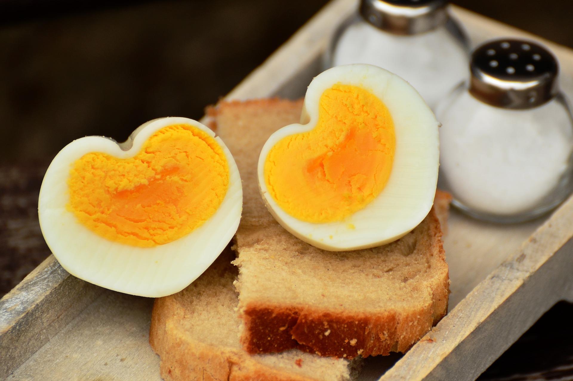 Eieren en boterhammen zijn rijk aan eiwitten.